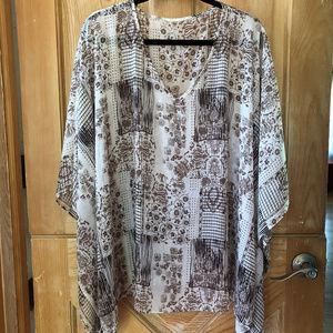 Tan & White Printed Sheer Overshirt 3/4X